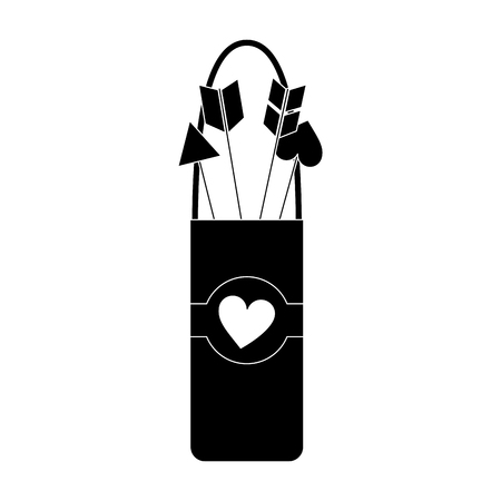 arrow holder cupid valentines day icon image vector illustration design  black and white