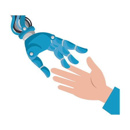Human hand and robot vector illustration design