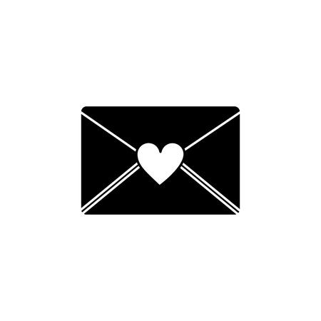 Love letter valentines day icon image vector illustration design black and white