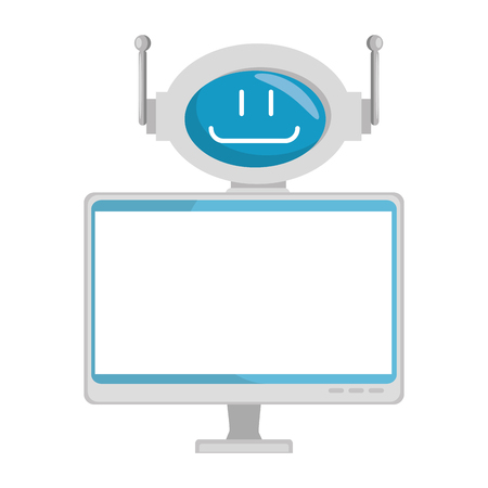Technological robot with monitor character icon vector illustration design Illustration