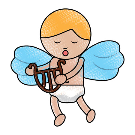 baby angel playing harp lyre  icon image vector illustration design  sketch line