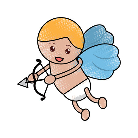 baby angel with bow and arrow  icon image vector illustration design  sketch line Archivio Fotografico - 96596817