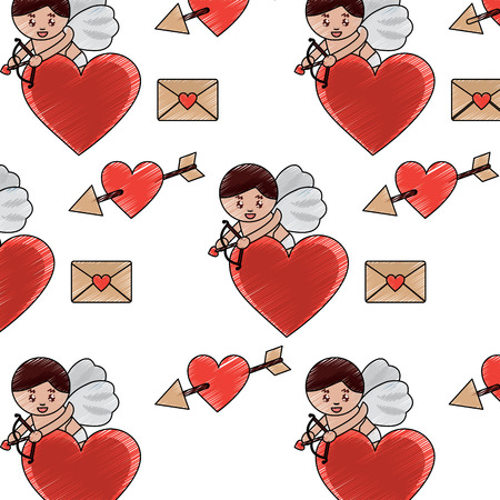 cupid heart love letter valentines day pattern image vector illustration design  sketch line