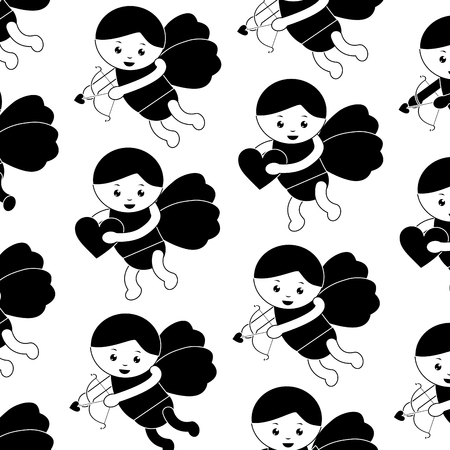 Cupid valentines day pattern image vector illustration design black and white
