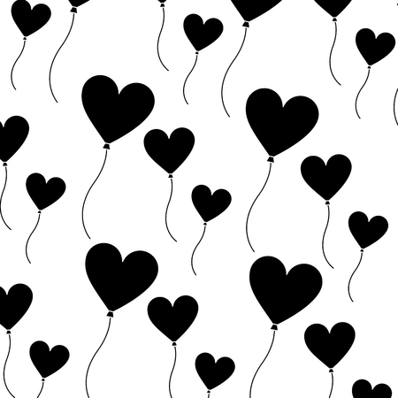 heart balloon valentines day icon image vector illustration design  black and white