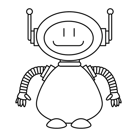 Linear style sketch of technological robot character icon vector illustration design