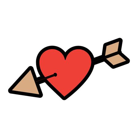 Arrow through heart cupid valentines day icon image vector illustration design Illustration