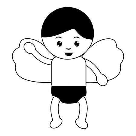 Baby angel icon image vector illustration design black and white