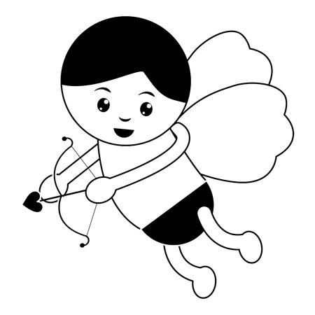 cupid holding bow and arrow  valentines day icon image vector illustration design  black and white Imagens - 96596830