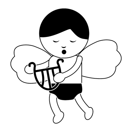 Baby angel playing harp lyre icon image vector illustration design black and white
