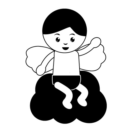 Bébé ange icône image vecteur conception d & # 39 ; illustration noir et blanc Banque d'images - 96584670