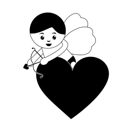 Cupid holding bow and arrow valentines day icon image vector illustration design black and white