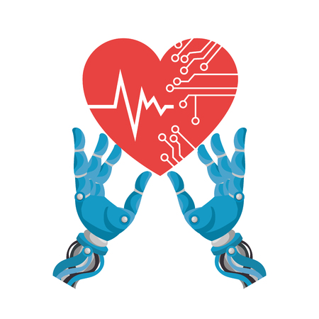 Robot hands with heart circuit vector illustration design Иллюстрация