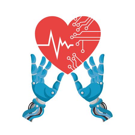 Robot hands with heart circuit vector illustration design Illustration