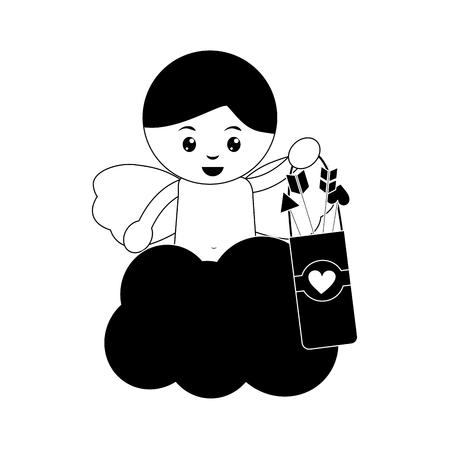 Cupidon avec flèche pointeur saint valentin image icône conception illustration vectorielle noir et blanc Banque d'images - 96596831
