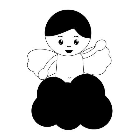 Baby Engel Symbol Bild Vektor Illustration Design schwarz und weiß Standard-Bild - 96588945