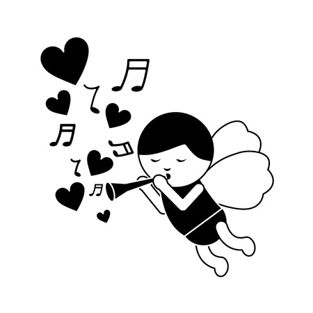 cupid playing horn hearts valentines day icon image vector illustration design  black and white Ilustração
