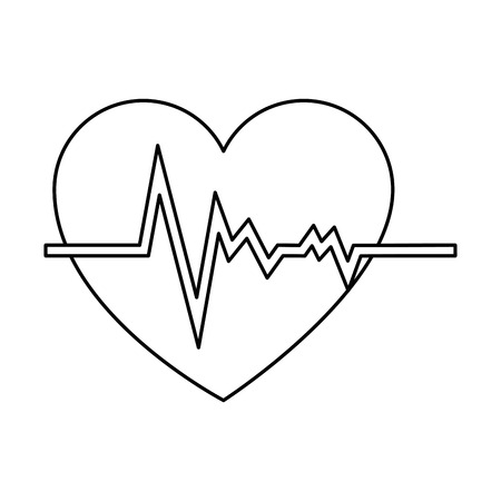 Line sketch of a heart cardiology isolated icon vector illustration design