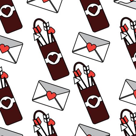 Arrow holder love letter cupid valentines day pattern image vector illustration design Imagens - 96588952