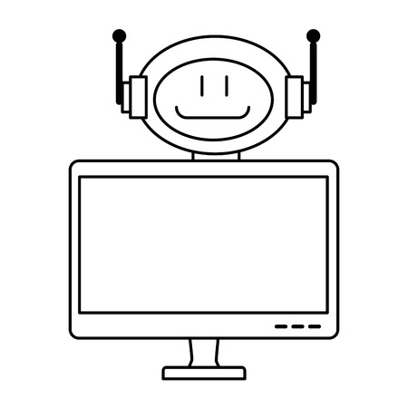Linear outline sketch of technological robot with monitor character icon vector illustration design