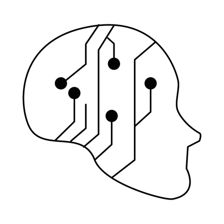 Human head with electrical circuit vector illustration design Çizim