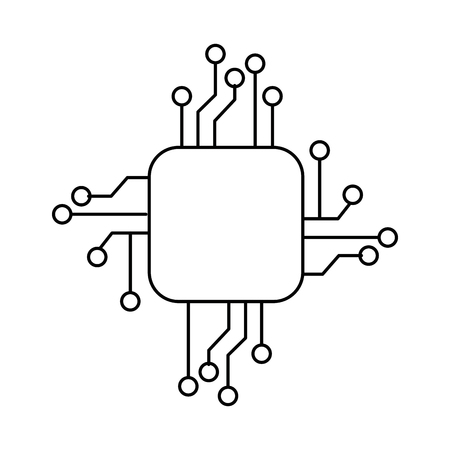 Linear outline sketch of a processor circuit electrical icon vector illustration design
