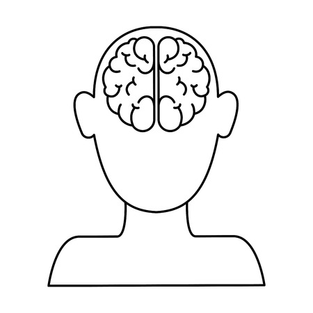 Linear outline sketch of a human profile with brain vector illustration design
