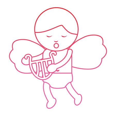 baby angel playing harp lyre  icon image vector illustration design  pink line