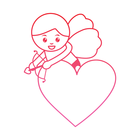 Cupid holding bow and arrow valentines day icon image vector illustration design pink line