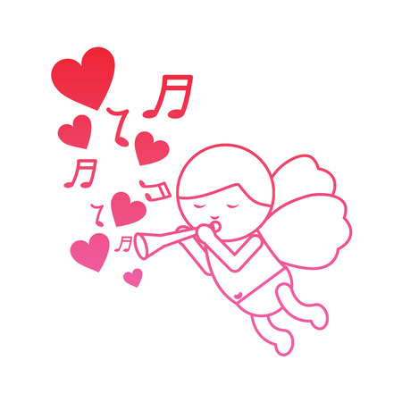 Cupid playing horn hearts valentines day icon image vector illustration design pink line