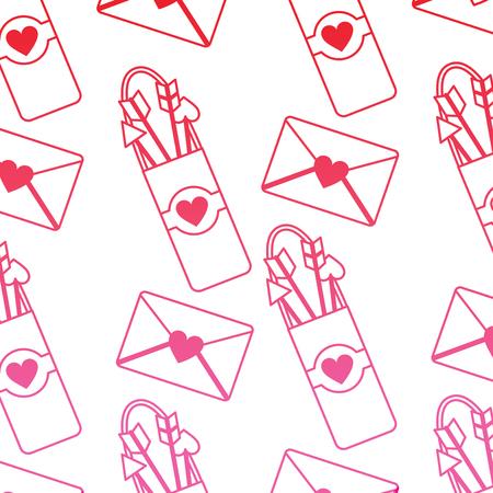 arrow holder love letter cupid valentines day pattern image vector illustration design  pink line