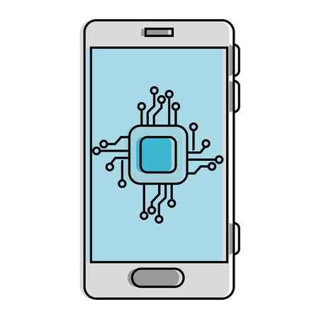 A smartphone with processor and circuit on screen, vector illustration design