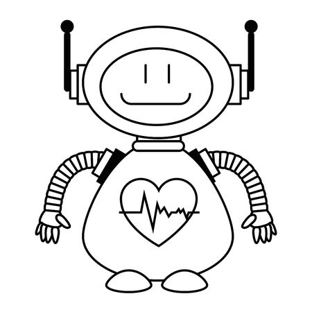 Linear outline sketch of a technological robot with heart cardio character icon vector illustration design