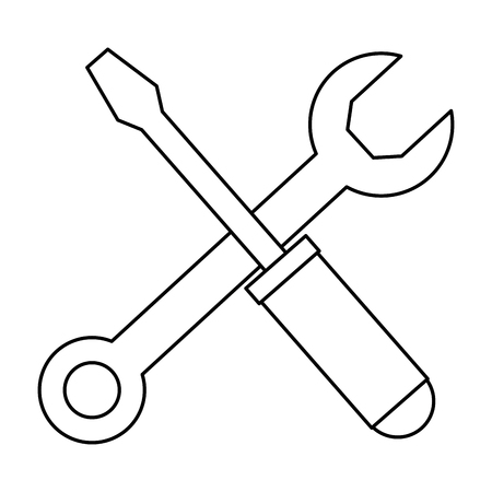 Two Kinds wrench key and screwdriver tool vector illustration design Illustration