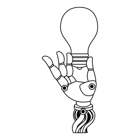 Robot hand humanoid with bulb vector illustration design
