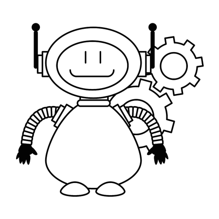 Linear sketch of a technological robot with gears character icon vector illustration design Illustration