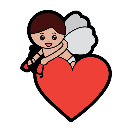 Cupid holding bow and arrow valentines day icon image vector illustration design