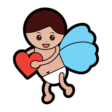 cupid holding heart valentines day icon image vector illustration design