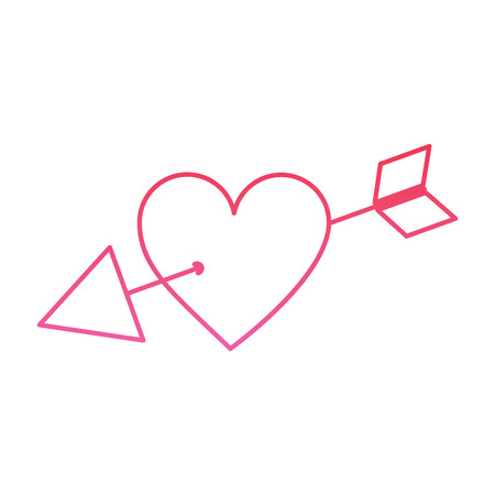 Arrow through heart cupid valentines day icon image vector illustration design pink line Ilustração