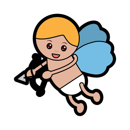 Baby angel with bow and arrow icon image vector illustration design Illustration