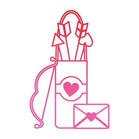 arrow holder cupid valentines day icon image vector illustration design  pink line