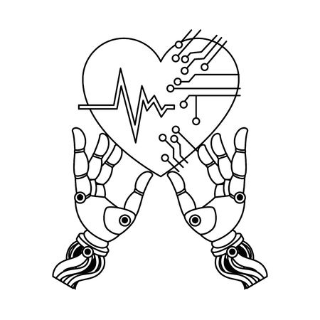 Linear outline sketch of a robot hands with heart circuit vector illustration design