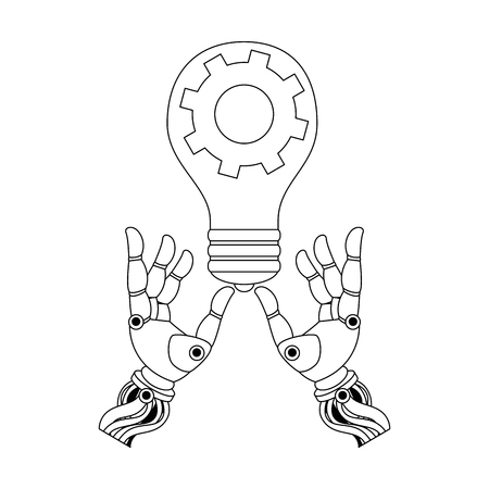 Robot hands humanoid with bulb and gear vector illustration design