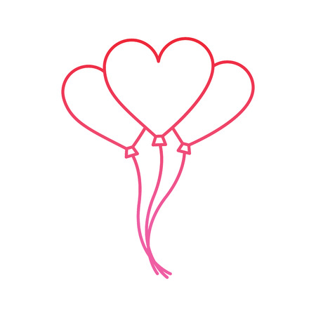 Heart balloon valentines day icon image vector illustration design pink line