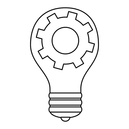 Bulb light with gears vector illustration design