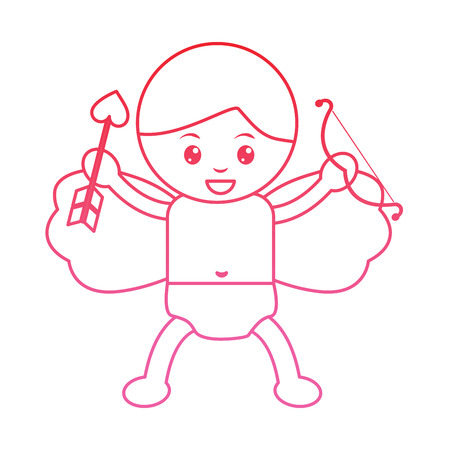 cupid holding bow and arrow valentines day icon image vector illustration design pink line 일러스트