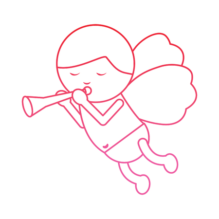 baby angel playing horn  icon image vector illustration design  pink line