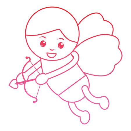 cupid holding bow and arrow  valentines day icon image vector illustration design  pink line Imagens - 96596955