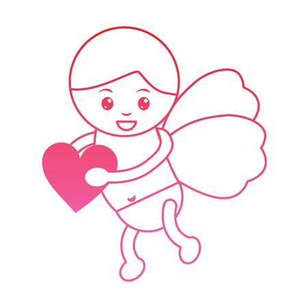 cupid holding heart valentines day icon image vector illustration design  pink line 일러스트