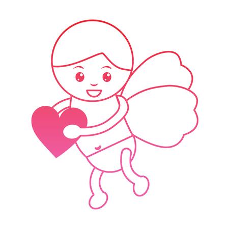 cupid holding heart valentines day icon image vector illustration design  pink line Illustration